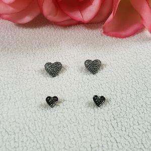 2 Pairs of Heart Earrings